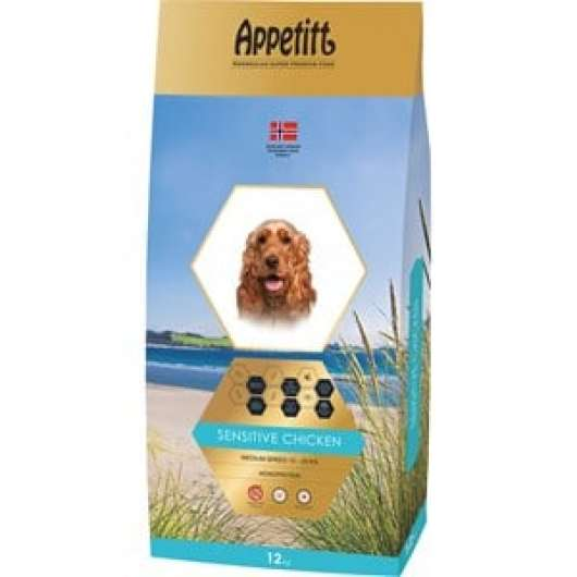 Hundfoder Appetitt Sensitive Chicken Medium Breed, 12 kg
